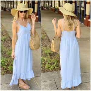 Blue Ruffle Hem Maxi Dress with Button Lace Detail